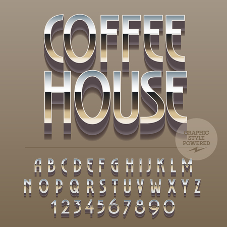 lunchroom: Set of slim reflective alphabet letters, numbers and punctuation symbols. Vector logotype with text Coffee house. File contains graphic styles