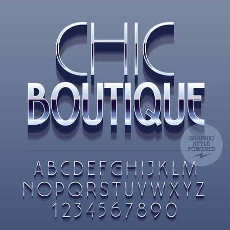 boutique: Set of slim reflective alphabet letters, numbers and punctuation symbols. Vector glossy with text Chic boutique. File contains graphic styles