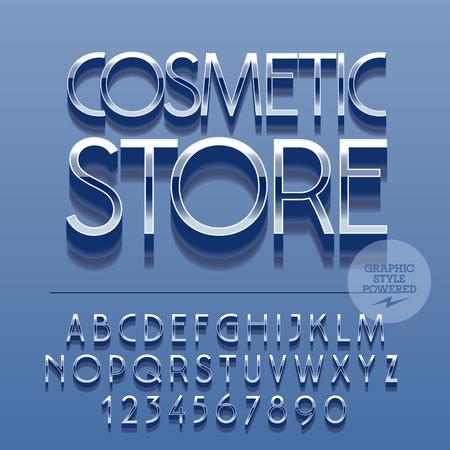 スリムな反射アルファベット文字、数字、および記号のセットです。ベクトル テキスト化粧品店と光沢のあるエンブレム。ファイルには、グラフィ