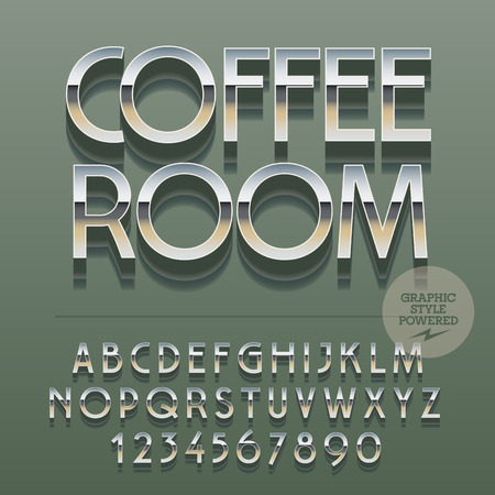 lunchroom: Set of slim reflective alphabet letters, numbers and punctuation symbols. Illustration