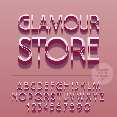 glance: Set of slim reflective alphabet letters, numbers and punctuation symbols. Vector glance sign with text Glamour store. File contains graphic styles