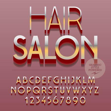 スリムな反射アルファベット文字、数字、および記号のセットです。