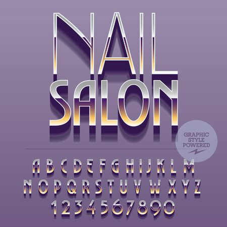 Set of slim reflective alphabet letters, numbers and punctuation symbols. Vector platinum emblem with text Nail salon. File contains graphic styles