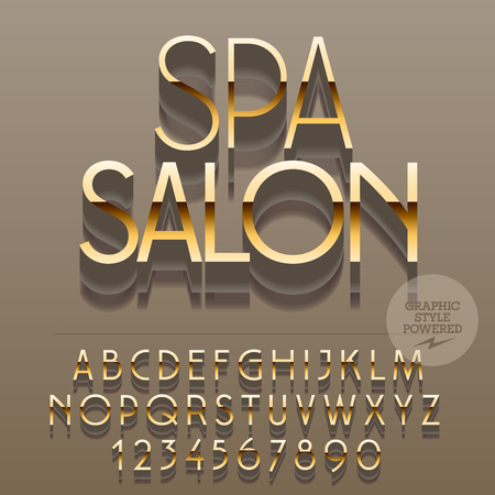 golden symbols: Set of slim glossy golden alphabet letters, numbers and punctuation symbols. Vector reflective elite with text Spa salon. File contains graphic styles Illustration