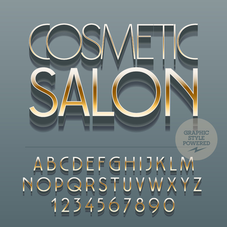Set of slim glossy metal alphabet letters, numbers and punctuation symbols. Vector reflective with text Cosmetic salon. File contains graphic styles Ilustrace