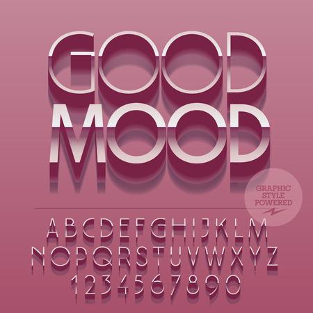 Set van glanzende zilveren letters van het alfabet, cijfers en leestekens. Vector reflecterende roze kaart met tekst Goede stemming. Het dossier bevat grafische stijlen Stockfoto - 61258223