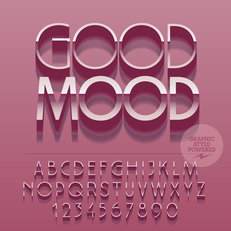 Set of glossy silver alphabet letters, numbers and punctuation symbols. Vector reflective pink card with text Good mood. File contains graphic styles Illustration
