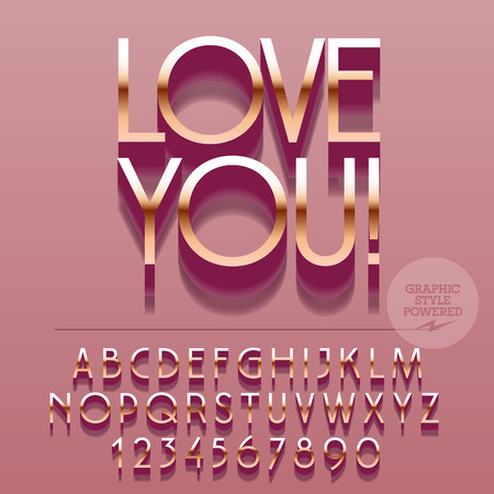 platinum: Set of slim reflective silver alphabet letters, numbers and punctuation symbols. Vector pink greeting card with text Love you! File contains graphic styles