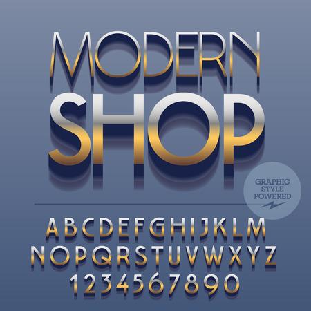 光沢のあるアルファベット文字、数字、および記号のセットです。ベクトル反射金属本文モダンな店。ファイルには、グラフィック スタイルが含ま  イラスト・ベクター素材