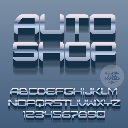 auto shop: Set of slim glossy silver alphabet letters, numbers and punctuation symbols. Vector reflective stylish sign with text Auto shop. File contains graphic styles Illustration