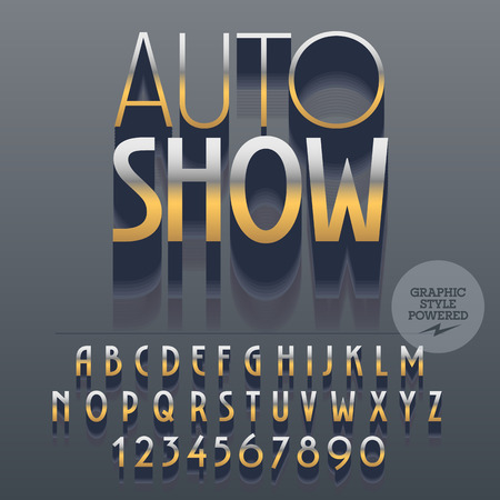 platinum: Set of slim reflective alphabet letters, numbers and punctuation symbols. Vector emblem with text Auto show.File contains graphic styles