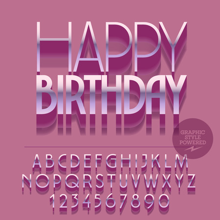 regards: Set of slim glossy silver alphabet letters, numbers and punctuation symbols. Vector reflective greeting card with text Happy birthday. File contains graphic styles Illustration
