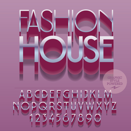 Set of slim reflective alphabet letters, numbers and punctuation symbols. Vector silver with text Fashion house. File contains graphic styles