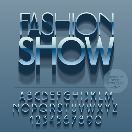 Set of glossy metallic alphabet letters, numbers and punctuation symbols. Vector reflective with text Fashion show. File contains graphic styles