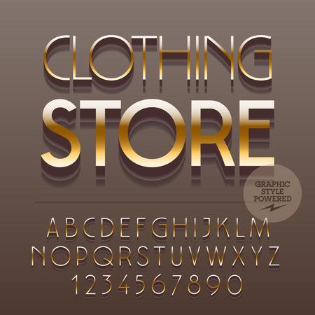 スリムな反射アルファベット文字、数字、および記号のセットです。ベクトル テキスト衣料品店と黄金。ファイルには、グラフィック スタイルが含