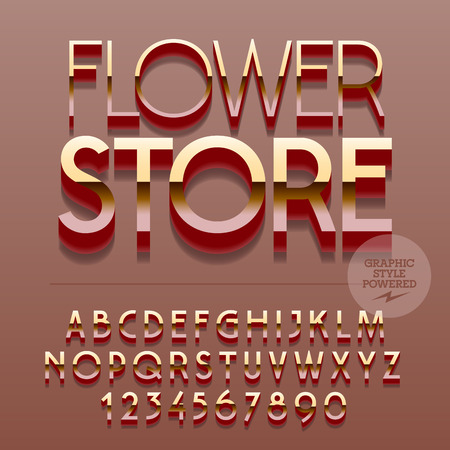 sign store: Set of slim glossy metal alphabet letters, numbers and punctuation symbols. Vector reflective plastic sign with text Flower store. File contains graphic styles