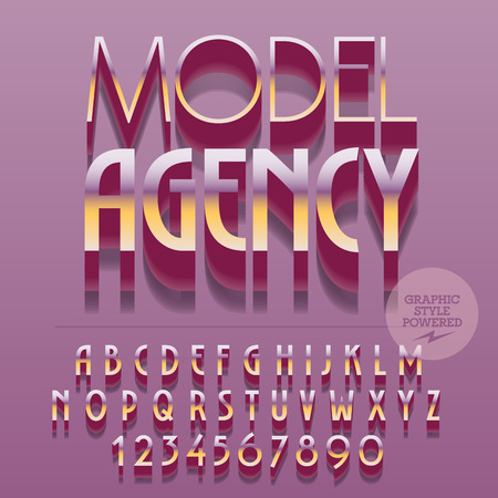 catwalk model: Set of slim glossy golden alphabet letters, numbers and punctuation symbols. Vector reflective polished icon with text Model agency. File contains graphic styles