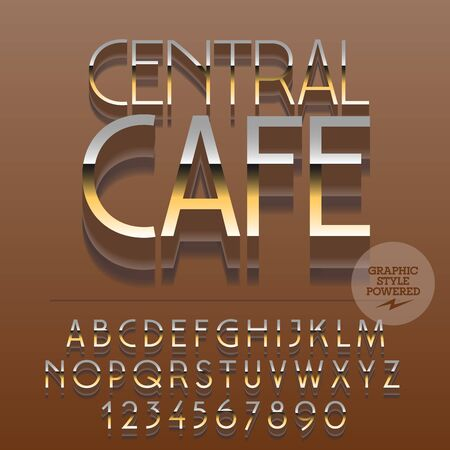 platinum: Set of slim glossy golden alphabet letters, numbers and punctuation symbols. Vector reflective modern emblem with text Central cafe. File contains graphic styles