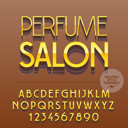 スリムな反射アルファベット文字、数字、および記号のセットです。テキスト香水サローネとベクトルのアイコン。ファイルには、グラフィック ス