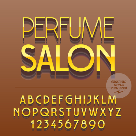 Set of slim reflective alphabet letters, numbers and punctuation symbols. Vector icon with text Perfume salone. File contains graphic styles