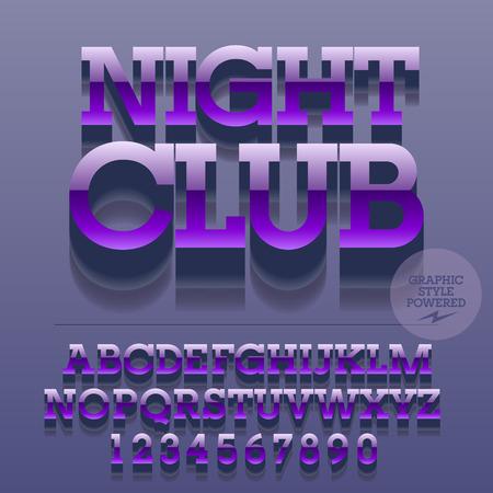 光沢のある金属のアルファベット文字、数字、および記号のセットです。テキストの夜クラブでベクトル反射ロゴ。ファイルには、グラフィック ス  イラスト・ベクター素材