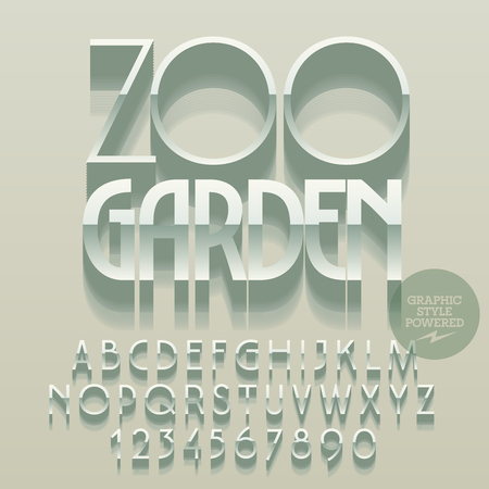 garden styles: Set of glossy silver alphabet letters, numbers and punctuation symbols. Vector reflective emblem with text Zoo garden. File contains graphic styles Illustration