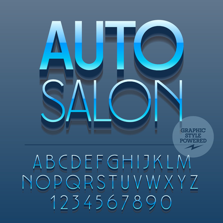 dealership: Set of slim reflective alphabet letters, numbers and punctuation symbols. Vector glossy plastic sign with text Auto salon. File contains graphic styles Illustration