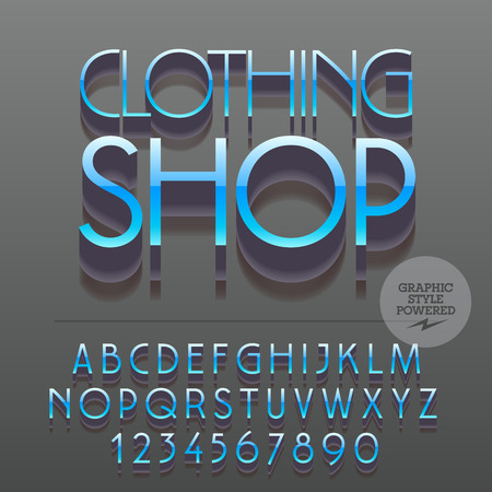 clothing shop: Set of glossy metallic alphabet letters, numbers and punctuation symbols. Vector reflective logo with text Clothing shop. File contains graphic styles