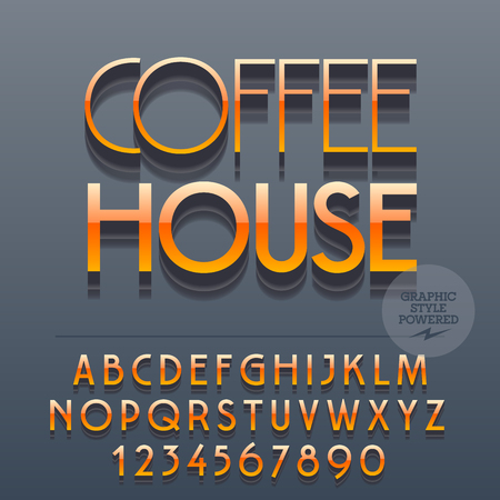 lunchroom: Set of slim reflective alphabet letters, numbers and punctuation symbols. Vector glossy plastic logotype with text Coffee house. File contains graphic styles