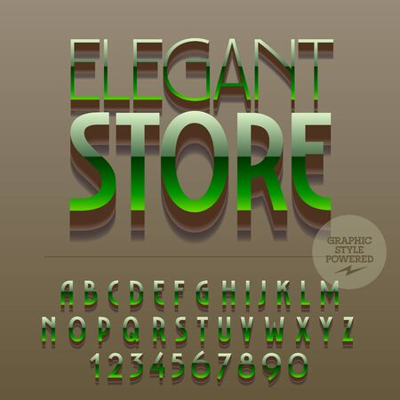 gloss: Set of slim reflective alphabet letters, numbers and punctuation symbols. Vector glossy plastic emblem with text Elegant store. File contains graphic styles Illustration