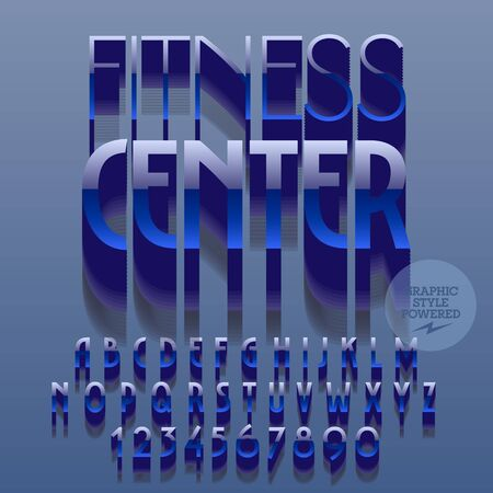 reflective: Set of slim glossy plastic alphabet letters, numbers and punctuation symbols. Vector reflective blue logo with text Fitness center. File contains graphic styles Illustration