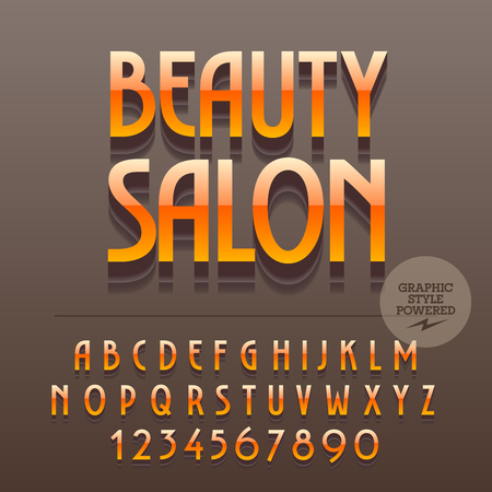Set of slim reflective metallic alphabet letters, numbers and punctuation symbols. Vector bright label with text Beauty salon. File contains graphic styles Ilustrace