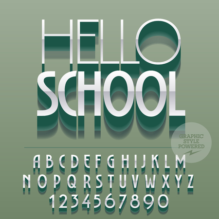 Set of glossy alphabet letters, numbers and punctuation symbols. Vector reflective silver banner with text Hello school. File contains graphic styles