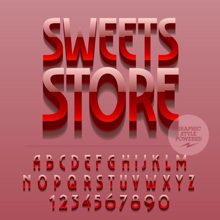 letrero: Conjunto de las letras del alfabeto brillante, números y símbolos de puntuación. Vector emblema metálico reflectante con la tienda de dulces de texto. El fichero contiene los estilos gráficos