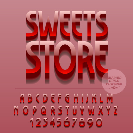 platinum: Set of glossy alphabet letters, numbers and punctuation symbols. Vector reflective metallic emblem with text Sweets store. File contains graphic styles