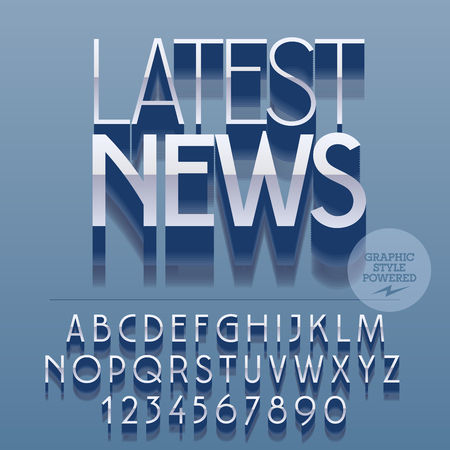 latest news: Set of glossy silver alphabet letters, numbers and punctuation symbols. Vector reflective banner with text Latest news. File contains graphic styles Illustration