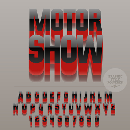 elite: Set of glossy black alphabet letters, numbers and punctuation symbols. Vector reflective stylish sign with text Auto show. File contains graphic styles
