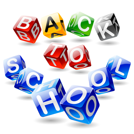 Vector isometric cube text Back to school Illustration