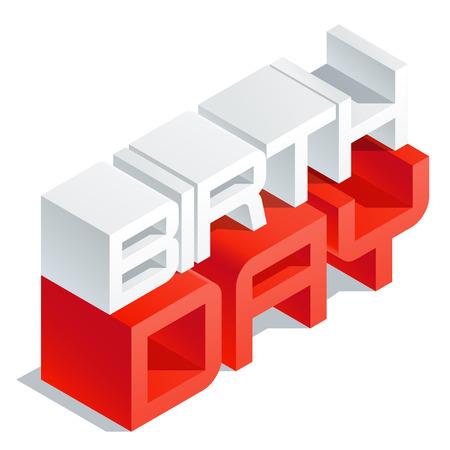 3 D ボリューム文字でベクトル グリーティング カード。スリム 3 次元等尺性本文誕生日