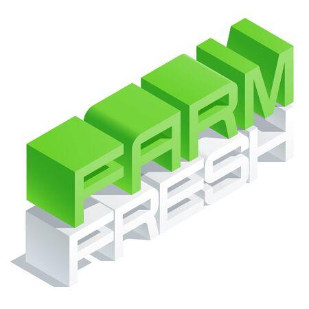 Slim 3D isometric text Farm fresh