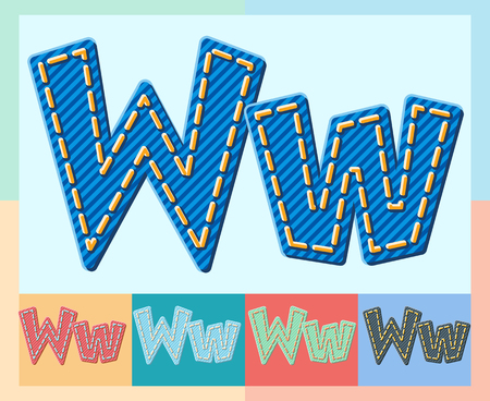 optional: Vector jeans alphabet. Optional colorful graphic styles. Letter W