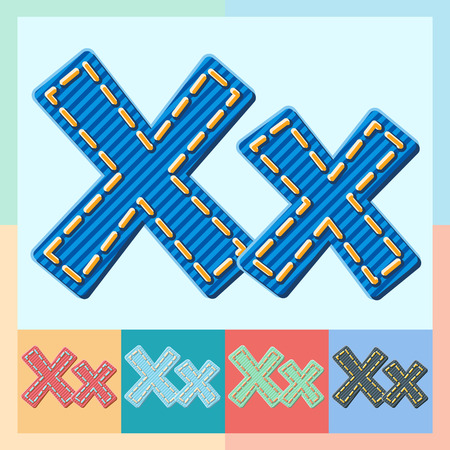 Vector jeans alphabet. Optional colorful graphic styles. Letter X