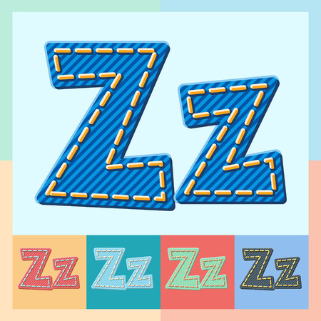 optional: Vector jeans alphabet. Optional colorful graphic styles. Letter Z