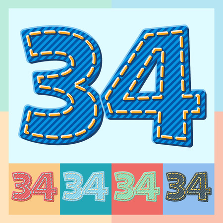optional: Vector jeans alphabet. Optional colorful graphic styles. Numbers 3 4 Illustration
