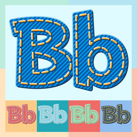 optional: Vector jeans alphabet. Optional colorful graphic styles. Letter B
