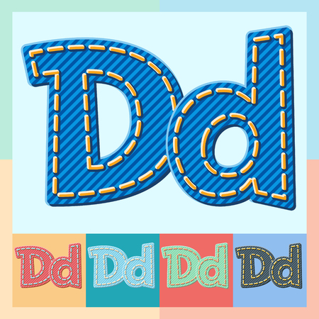 optional: Vector jeans alphabet. Optional colorful graphic styles. Letter D Illustration