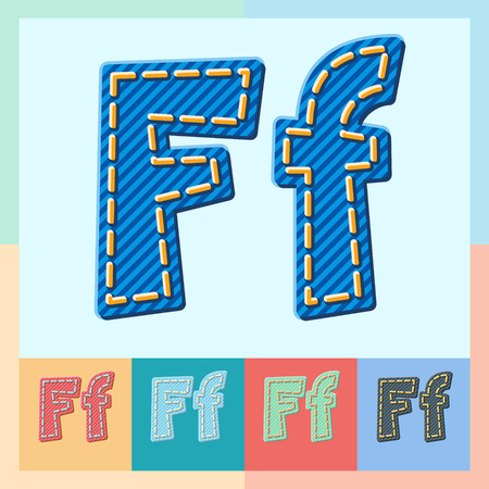 optional: Vector jeans alphabet. Optional colorful graphic styles. Letter F Illustration