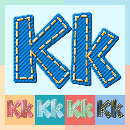 optional: Vector jeans alphabet. Optional colorful graphic styles. Letter K