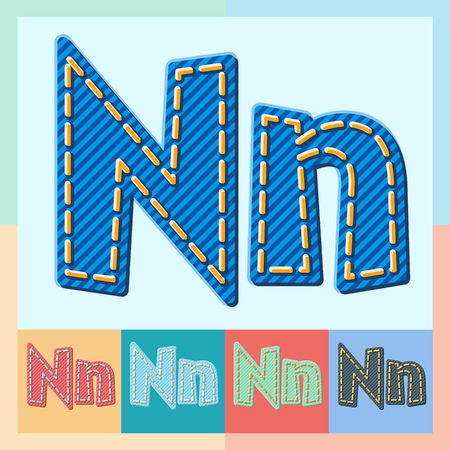 Vector jeans alphabet. Optional colorful graphic styles. Letter N