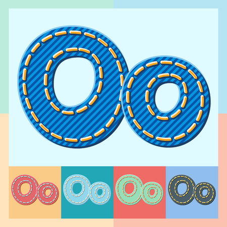 Vector jeans alphabet. Optional colorful graphic styles. Letter O